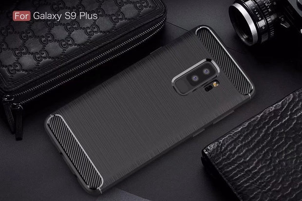 Slim Fit Shockproof Flexible Soft Rubber TPU Gel Carbon Fiber Pattern Case For Samsung Galaxy S9/S9 PLUS