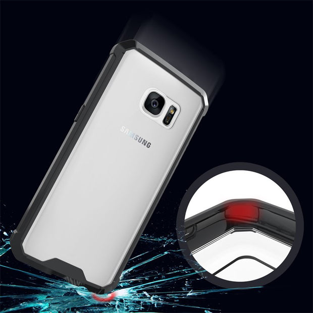 Slim-Fit Shockproof PC+TPU Transparent Thin Crystal Clear Hard Case For Samsung Galaxy S7