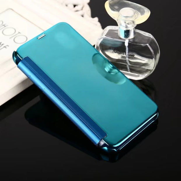 Smart Auto Sleep Flip Plating Mirror Case For Iphone X Case Slim Hard Clear Transparent Cover For Samsung Galaxy Note 8 Fundas