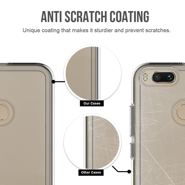 Soft Rubber TPU Frame Crystal Durable Shock-Absorption Flexible PC Back Cover Hybrid Protective Case For Xiaomi Mi 5X / Mi A1