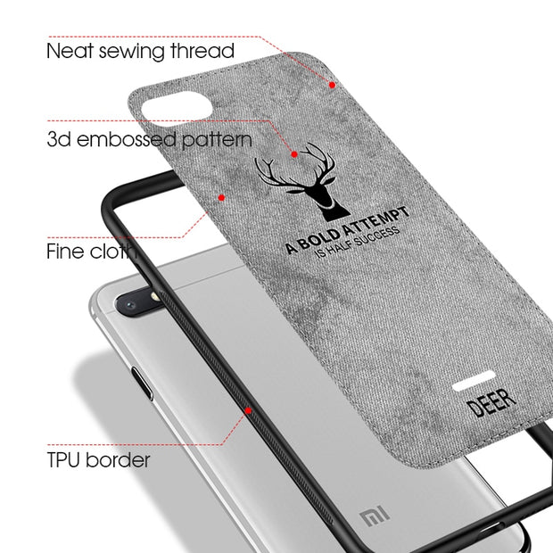 Soft TPU Edge Deer Phone Case For Xiaomi Pocophone Poco F1 Mi8 Mi A2 6X Coque Fundas Case Redmi 6 6A Note 5 Pro Cloth Cover Capa