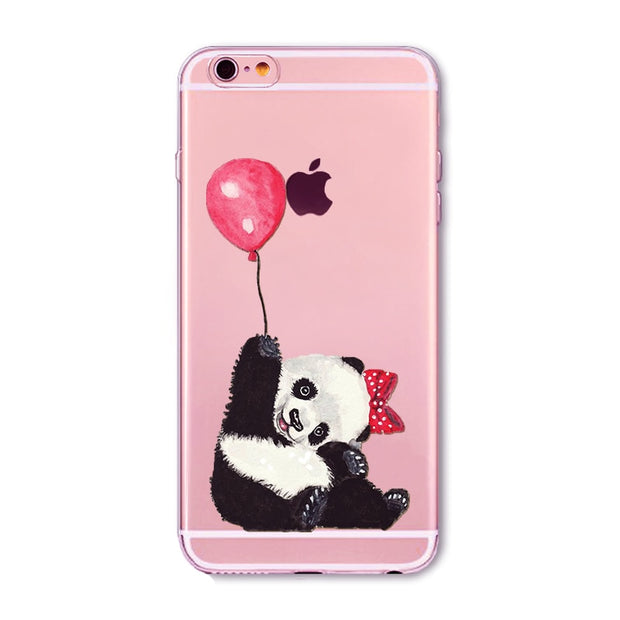 Soft TPU Silicone Phone Case For IPhone 7 Transparent Back Cover Lovely Pandas Family With The Bamboo Painted Case