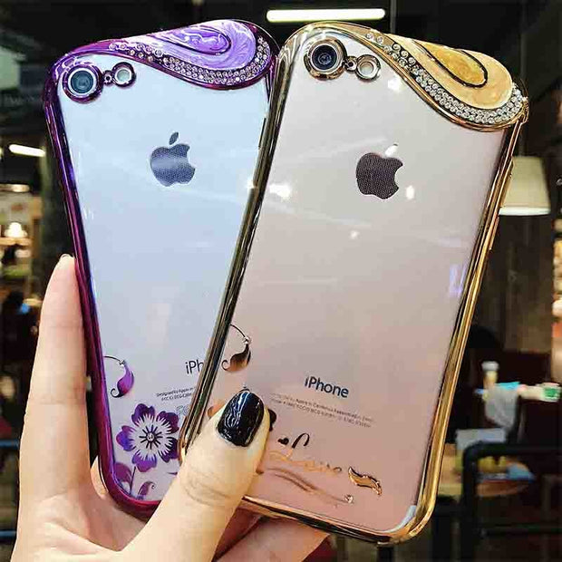 Stylish Dynamic Waist Phone Case For IPhone 7 8 6 6s Plus X 10 Cases Soft TPU Plating For IPhone 10 8 7 Plus X Female Love Cover