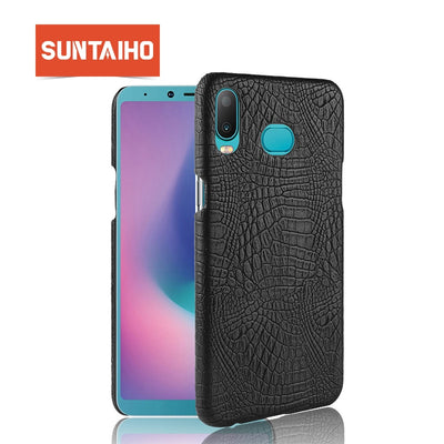Suntaiho Crocodile Leather Skin Case For Samsung A6s A6P Case Galaxy A9S A9 Star Pro A8 Star Case PC Hard Back Protective Cover