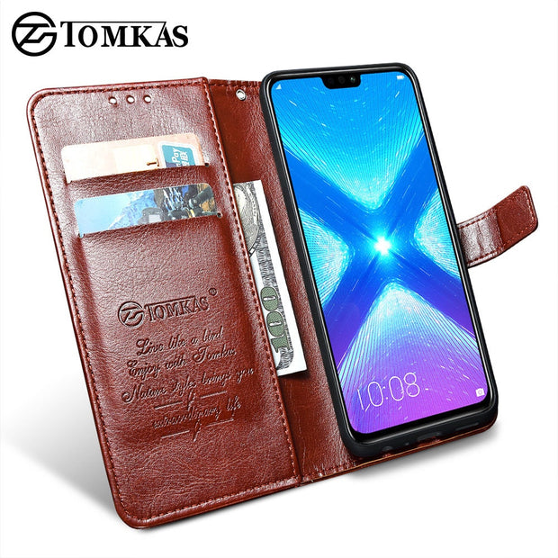 TOMKAS Luxury Leather Flip Case For Honor 8x 360 Protective Phone Cover Leather Wallet Silicon Cases For Huawei Honor 8x