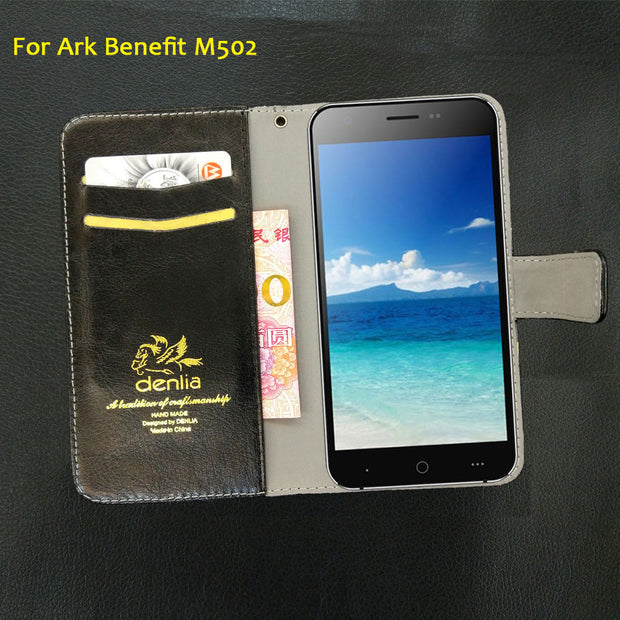 TOP New! Ark Benefit M502 Case 5 Colors Flip Luxury Leather Case Exclusive Phone Cover Credit Card Holder Wallet+Tracking