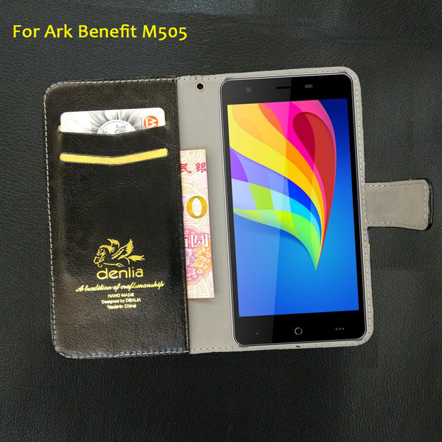 TOP New! Ark Benefit M505 Case 5 Colors Flip Luxury Leather Case Exclusive Phone Cover Credit Card Holder Wallet+Tracking
