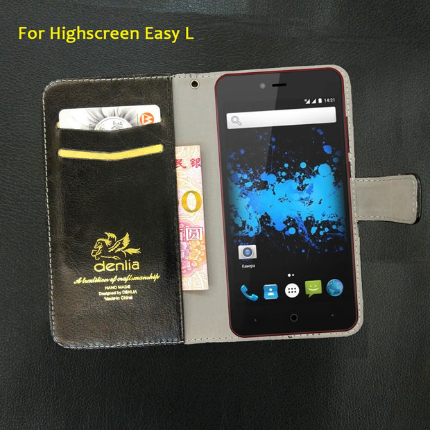 TOP New! Highscreen Easy L Case 5 Colors Flip Ultra-thin Leather Case Exclusive Phone Cover Credit Card Holder Wallet+Tracking
