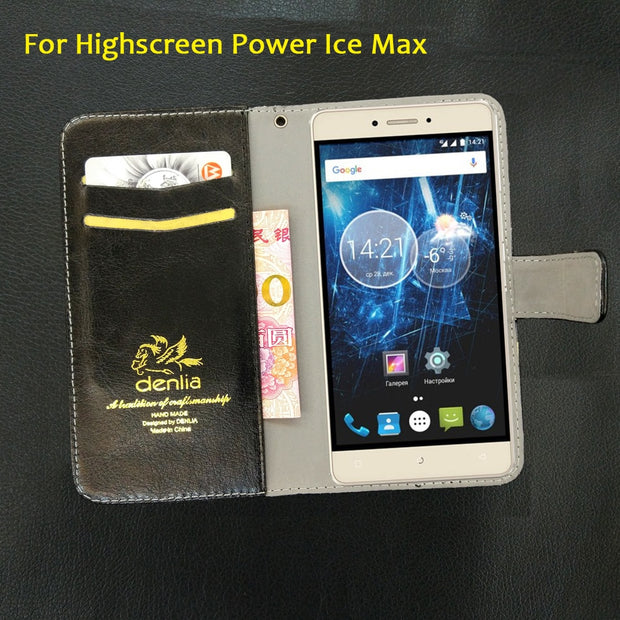 "TOP New! Highscreen Power Ice Max Case 5.3"" 5 Colors Ultra-thin Leather Case Exclusive Phone Cover Credit Card Wallet+Tracking"