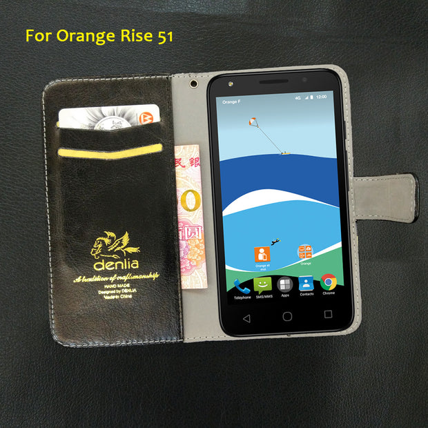 TOP New! Orange Rise 51 Case 5 Colors Slip-resistant Leather Case Exclusive Phone Cover Credit Card Holder Wallet+Tracking