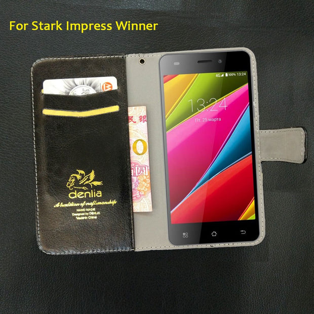 TOP New! Stark Impress Winner Case 5 Colors Luxury Leather Case Exclusive Phone Cover Credit Card Holder Wallet+Tracking