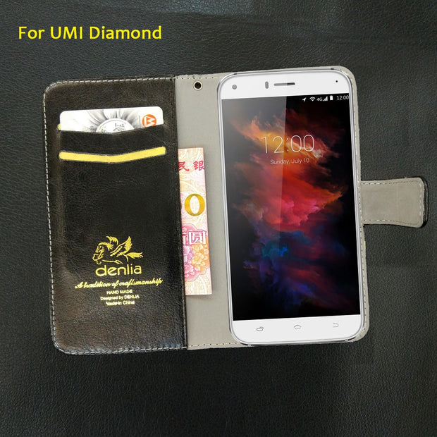 TOP New! UMI Diamond Case 5 Colors Luxury Leather Case Fashion Exclusive Phone Cover Credit Card Holder Wallet+Tracking