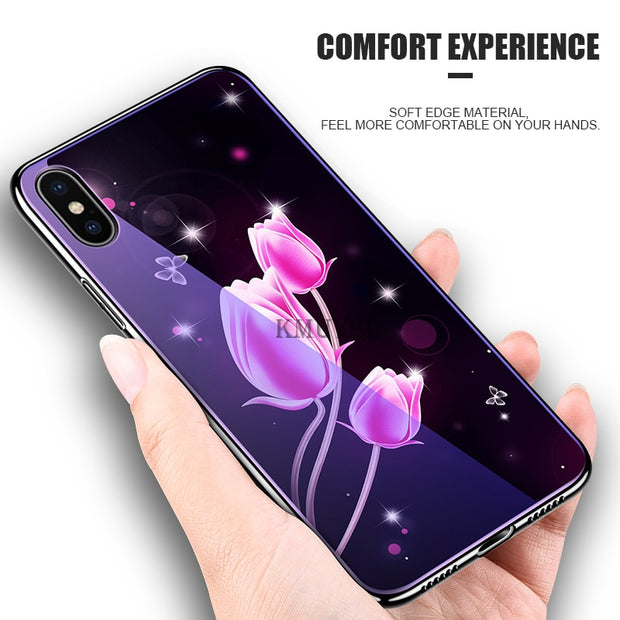 Tempered Glass Case For IPhone XS Max XR X 7 8 10 6 S Plus Animal Flower Starry Pattern Case For IPhone 7 8 Silicone Accessories