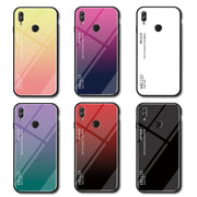 Tempered Glass Case For Huawei Honor 10 Lite Gradient Color Hard Cover Honor10lite Soft Silicone Bumper For Huawei Honor 10 Lite
