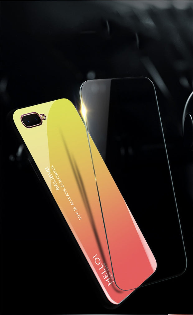 Tempered Glass Case For OPPO K1 Gradient Color Hard Back Cover For OPPO K1 Soft Silicone Bumper For OPPO Find X Case