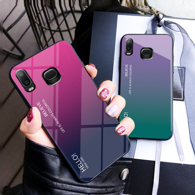 Tempered Glass Case For Samsung Galaxy A6S G6200 SM-G6200 Gradient Color Hard Cover Soft Silicone Bumper For Samsung A6S Case