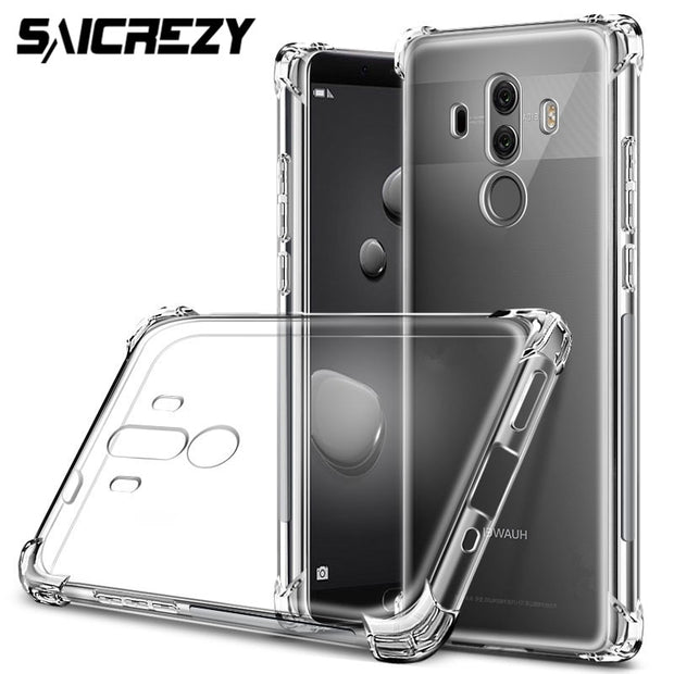 Transparent Soft Silicone Ultra Slim Clear TPU Skin Case For Huawei Mate 9 10 20 Lite Pro P Smart Plus Airbag Cover
