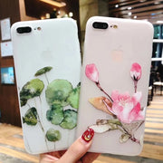 USLION Flower Case For IPhone 7 Plus 3D Relief Peach Blossom Flower Phone Cases For IPhone X 8 7 6 6S Plus Soft TPU Back Cover