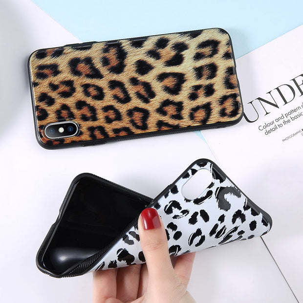 USLION Phone Case For IPhone 7 6 Plus XS Max Retro Leopard Print Pattern Cases For IPhone X XR 8 7 6 S Plus Soft TPU Back Cover