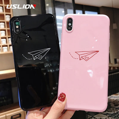 USLION Phone Case For IPhone XS Max XR X Cartoon Paper Plane Moon Stars Silicon Cases For IPhone 6 6s 7 8 Plus Soft TPU Cover