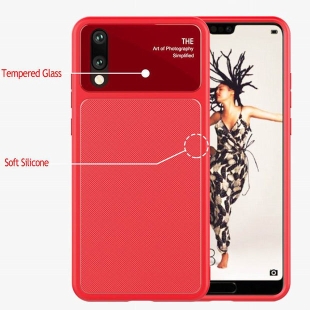 Ultra Thin Soft TPU Tempered Glass Case Hybrid 2 In 1 Shockproof Back Cover For Huawei P20 Plus P20 Pro P20 Lite NOVA 3E Coque