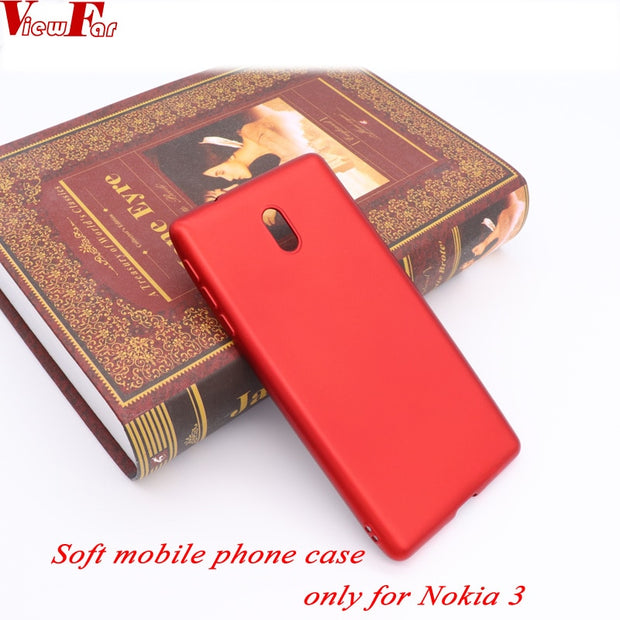 ViewFar Matte Soft Ultra-thin Back Full Case For Nokia 3 Soft Red TPU Case Protective Cover For Nokia 3 Case Black Covers Gel