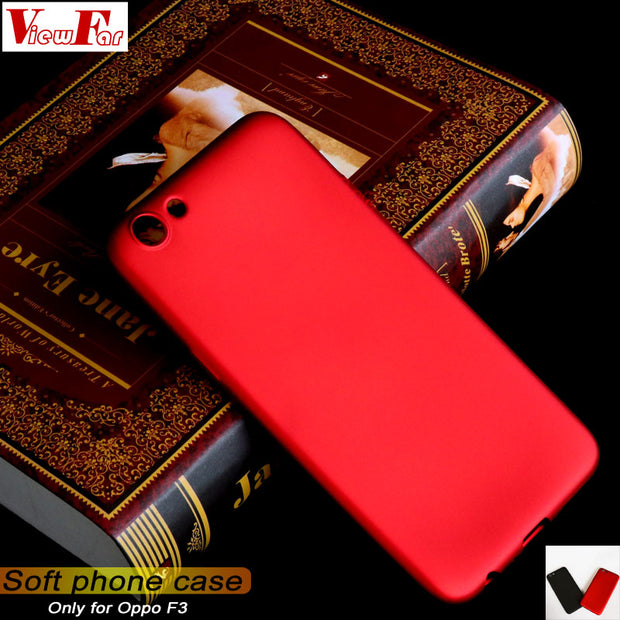 Viewfar Red Case For Oppo F3 Cover OppoF3 Case Soft TPU Black Back Plastic Cover Cool Matte Gel Plain Funda Color Anti Fall Dirt