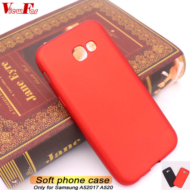 Viewfar Red Case For Samsung Galaxy A52017 A520 Cover A5 2017 GalaxyA52017 GalaxyA520 Hot Sale Soft TPU Black Plastic Anti Fall