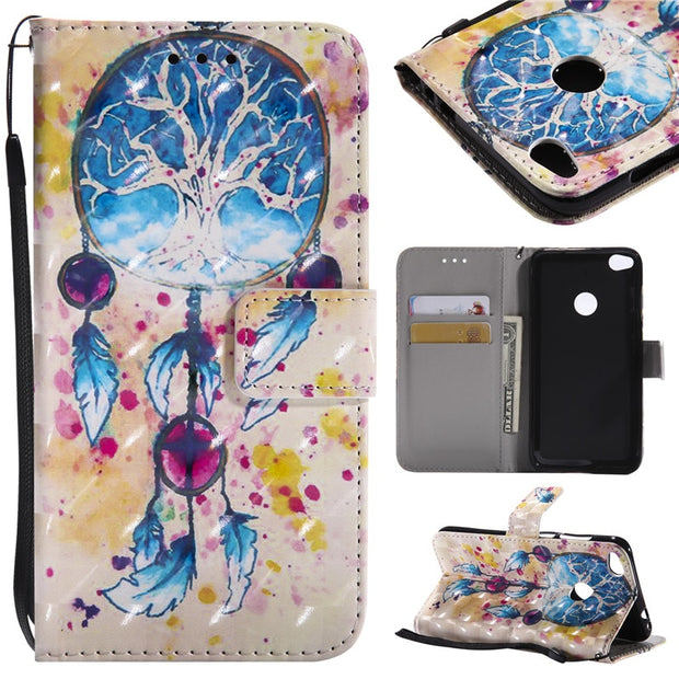 Wekays 3D Cartoon Butterfly Windbell Leather Case For Huawei P8 Lite 2017/P9 Lite 2017/Honor 8 Lite Silicon Wallet Covers Fundas