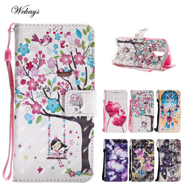 Wekays 3D Cartoon Butterfly Windbell Leather Case For Motorola Moto G4 /Moto G4 Plus/ Moto G4 Play Silicon Wallet Covers Fundas