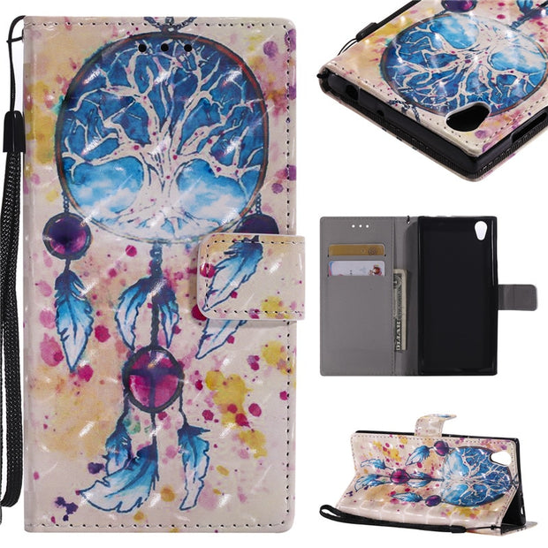 Wekays 3D Cartoon Butterfly Windbell Leather Case For Sony Xperia L1 Sony E6 L1 G3311 G3312 G3313 Silicon Wallet Covers Fundas