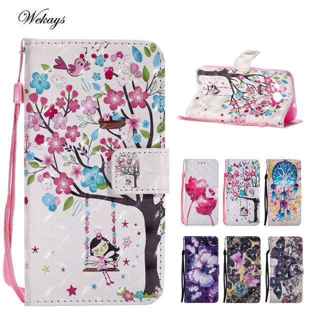 Wekays Case 3D Cartoon Butterfly Windbell Leather Case For Huawei Y3 2017 / Y5 2017/ Y6 2017 Silicon Wallet Covers Fundas Capa