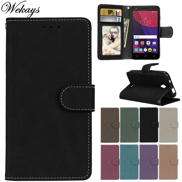 Wekays Case For Alcatel One Touch Pixi First Cover Case OT4024 4024D 4024X Black Business Matte Leather Flip Fundas Cover Cases