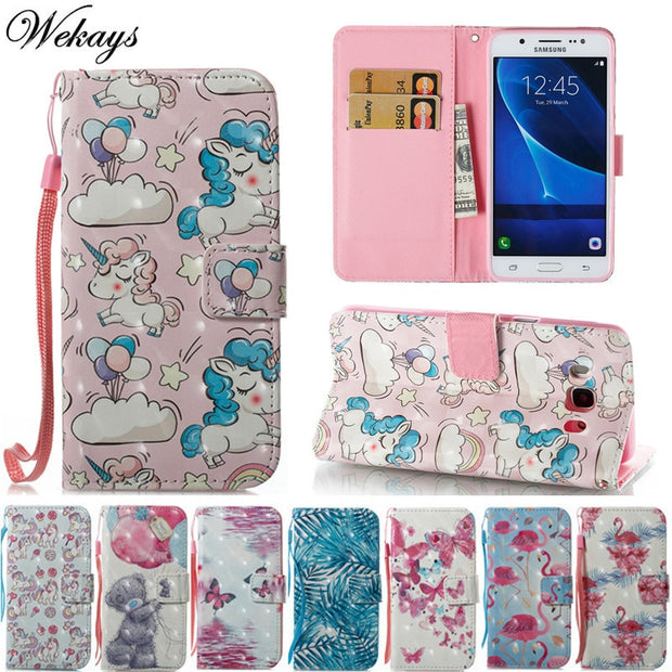 Wekays Case For Samsung Galaxy J3 J5 J7 2016 J310 J310F J510 J510F J710 J710F 3D Cute Cartoon Unicorn Leather Fundas Cover Cases