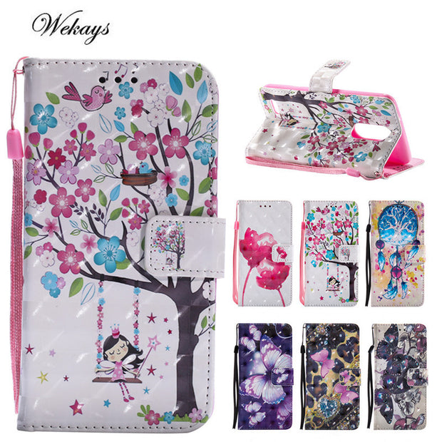 Wekays Case For LG K8 2017 3D Cute Cartoon Butterfly Windbell Flip Leather Case For LG K8 2017 Silicon Wallet Covers Fundas Capa