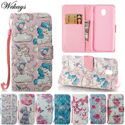 Wekays Case SFor Samsung Galaxy J3 J5 J7 2017 J330 J530 J730 Cute Cartoon Unicorn Butterfly Leather Flip Fundas Cover Cases Kids