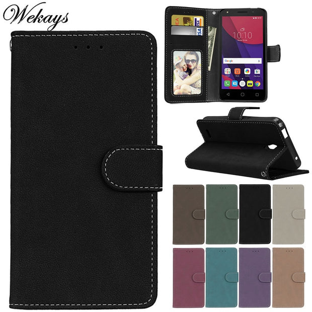 Wekays For Alcatel One Touch Pop 4 Plus OT5051 OT5056 Black Business Matte Leather Flip Cases For Alcatel 4S OT5095 Cover Cases