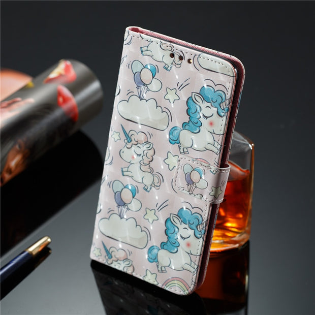 Wekays For Huawei Ascend P9 Lite Mini Cute Cartoon Unicorn Skull Leather Fundas Case SFor Huawei Enjoy 7 Y6 Pro 2017 Cover Cases