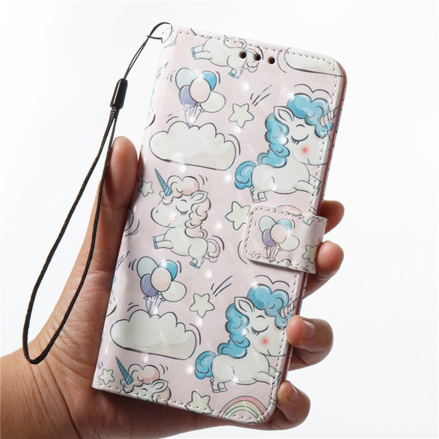 Wekays For Samsung A8 Plus 2018 Cute Cartoon 3D Unicorn Skull Leather Funda Case For Samsung Galaxy A8 Plus A8+ 2018 Cover Case