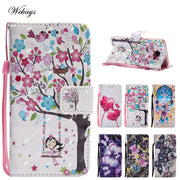 Wekays Leather Wallet Flip Case Cartoon Flower Cover For Samsung Galaxy A3 2016 A310 A310F A5 2016 A510 A510F Case Phone Coque