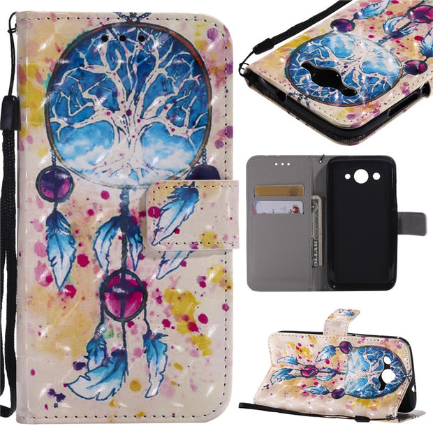 Wekays PU Leather Wallet Flip Case Cartoon Flower Butterfly Cover For Huawei Y3 2017 / Y5 2017/ Y6 2017 Case Phone Coque Capa
