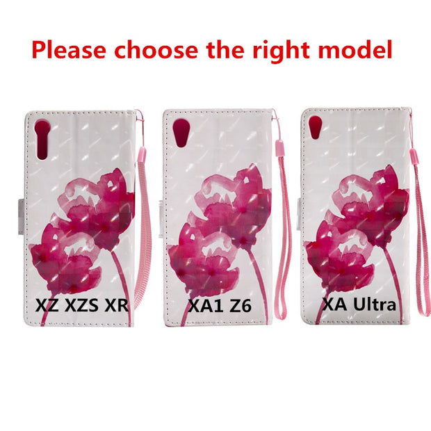 Wekays PU Leather Wallet Flip Case Cartoon Flower Butterfly Cover For Sony Xperia XA Ultra /XZ/XZS/XR/ XA1 Z6 Case Phone Coque