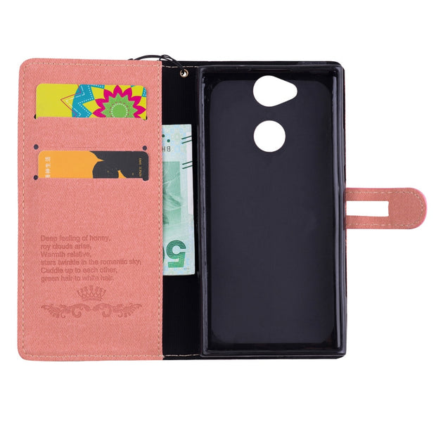 With Lanyard Button Phone Bags Cover For Sony Xperia XA2 Case For Xperia XA2 Dual PU Leather Cases Kickstand TPU Back Shell