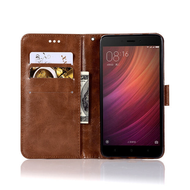 With Lanyard Retro PU Leather Case Phone Bag For Xiaomi Redmi Note 4 Pro Cover Redmi Note 4X Kickstand Flip Cases TPU Back Cover