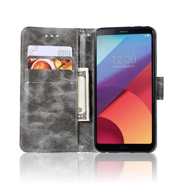 With Lanyard Retro PU Leather Cover Phone Bags For LG G6 Case For LG G6+ H870 H871 H873 H870K Kickstand Flip Case TPU Back Cover