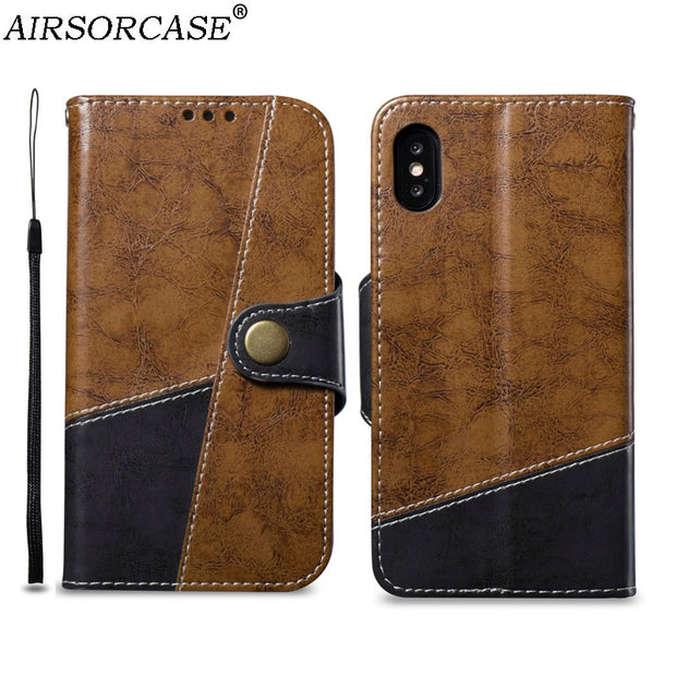 With Lanyard Stitching Phone Bags Cases For IPhone XS X 10 Case 5.8'' For IPhoneX PU Leather Case Kickstand Back Cover Inner TPU