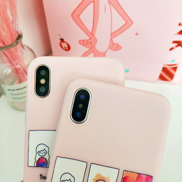 YISHANGOU Phone Case For IPhone X 6 6S 7 Plus Cute Girls Women Pattern Soft Silicon Back Cover Cases For IPhone X 8 Plus Shell