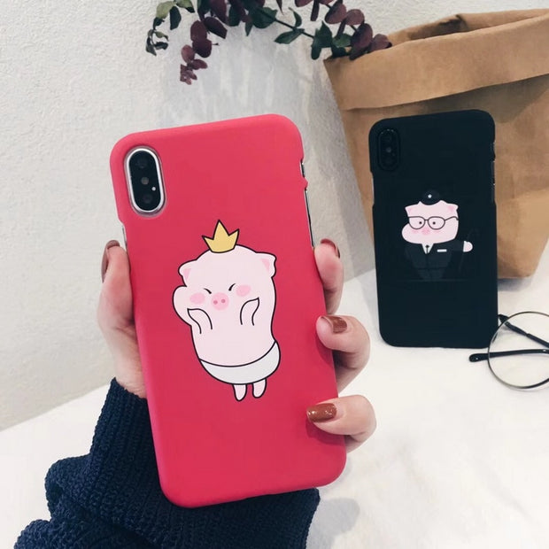 YISHANGOU Ultra Slim Cartoon Pigs Pattern Cute Red Black Phone Case For IPhone X 10 8 Plus 6 6S 7 Plus Hard PC Back Cover Coque