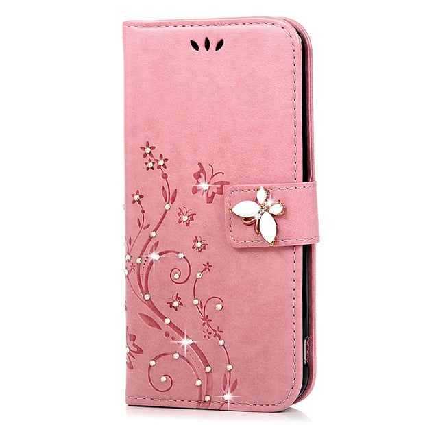 YOKIRIN Bling Rhinestone Leather Case For LG G5 H868 H830 Luxury Glitter Diamond Crystal Flip Stand PU Wallet Cover For LG G5
