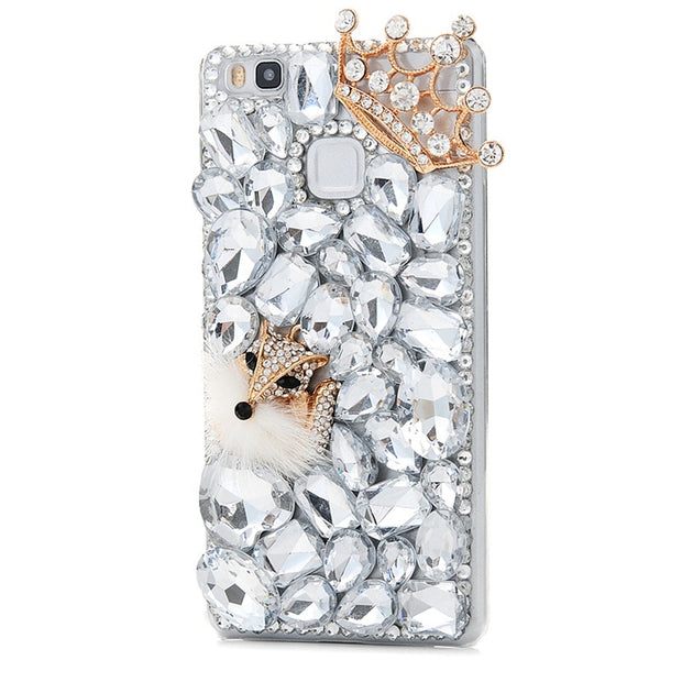 YOKIRIN P9Lite Rhinestone Case Luxury 3D Handmade Glitter Diamond Bling Crystal Clear Hard PC Back Cover For Huawei P9 Lite